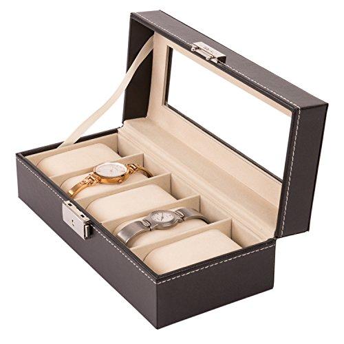 TRESKO® Scatola porta Orologi Valigia per Orologi custodia per Orologi per il viaggio, fintapelle, nera, 5 scomparti per orologi