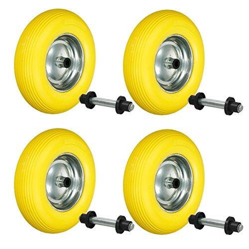 ECD Germany 4 Stück Schubkarrenrad aus pannensicherem PU Vollgummi mit Achse - Reifen mit Stahlfelge - 4.80/4.00-8 - Durchmesser 390 mm - Gelb - Ersatzrad Gummirad Schubkarren Rad