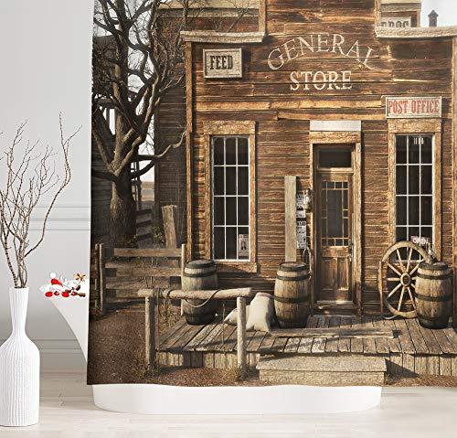 NYMB Duschvorhang im Western-Design mit Cowboy-Motiv, rustikaler Holzladen in ländlicher Stadt, Polyester-Badevorhang, Stoff-Holz-Duschvorhang-Sets mit Haken, 175,3 cm B x 177,8 cm L