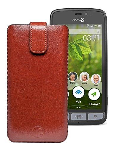 Original Favory Etui Tasche für Doro 8031 | Doro 8031C Leder Etui Handytasche Ledertasche Schutzhülle Hülle Hülle Lasche mit Rückzugfunktion* in braun