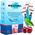 Revival Hydration Electrolytes Powder Packets, Supplement Drink Mix - Sport, Wellness, Travel - Cherry 6 Pack by Revival Shots