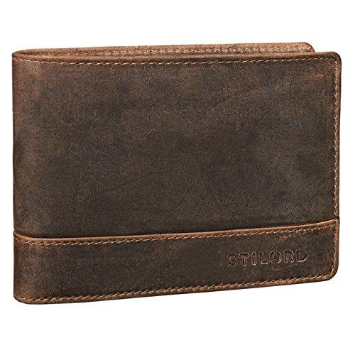 STILORD 'Lucius' Vintage Portemonnaie Leder Herren Brieftasche Geldbörse Portmonee Geldbeutel Wallet Echtleder, Farbe:mittel - braun