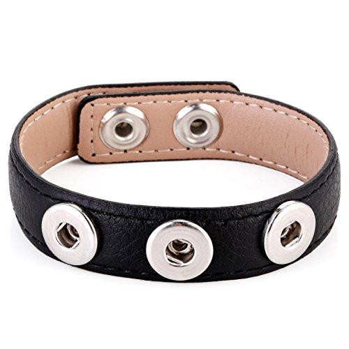 Morella® Damen Armband für SMALL Click-Button Druckknopf 12 mm Ø - schwarz