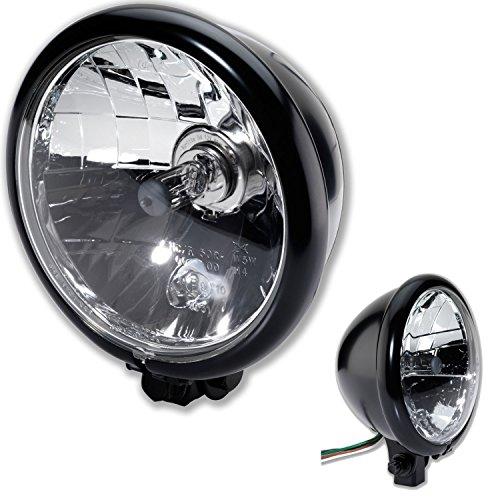 H4 Motorrad Scheinwerfer Bates Style BM 5 3/4 Zoll mit unterer Halterung schwarz Klar Glas E-Geprüft universal