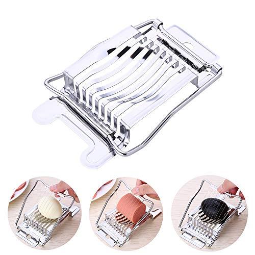 QYWJ Eierschneider aus Edelstahl, Vollmetall-Eierteiler mit 8 Edelstahl-Drähten, Slicer Splitter für gekochte Eier/Obst/Gemüse - spülmaschinengeeignet (13.5 x 9 cm)