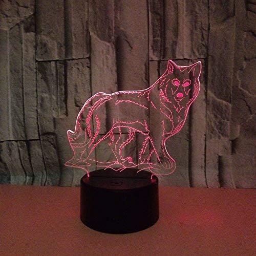 Animal Wolf Luz de noche 3D para niños, niñas, regalo, lámpara de ilusión 3D para dormitorio junto a la mesa, lámpara de mesa de escritorio con 16 colores cambiantes, regalo para niños