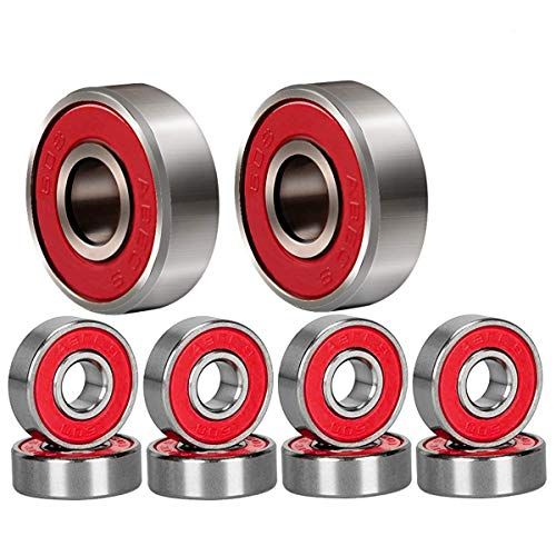 HOSTK Qpower 20 Pcs Skateboard Bearing, 608 ABEC-9 High Speed Wearproof Skating Steel Wheel Roller, Precision Inline Skate Bearings for Longboard, Kick Scooter, Roller Skates (red)