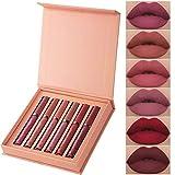 BHUJYG 6colors / Sets de la Mujer de Maquillaje líquido Manera Barra de Labios Conjunto Lipgloss Mate Terciopelo Brillos de Labios Rojo Natural de la Crema hidratante,01