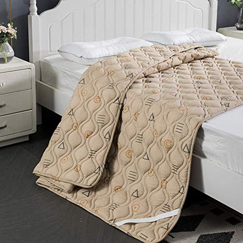 ZXYY Wasbare dunne matras topper anti-slip matrasbeschermer opvouwbare mat slaapmat vloer matras futon diep pocket-grijs en wit 90x190cm (35x75inch)