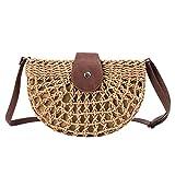 N_A Hollow Semi-Circular Straw Bag Mode Handgewebte Schulter Casual Beach Bag Brown