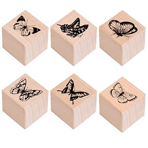 Anyasen Stempel Holz Motivstempel 6 Stück Holzstempel Retro dekorative Stempel Schmetterling Holzstempel Insektenstempel für Sammelalben Karten Zeitschriften umhüllen Tagebuch und Tags