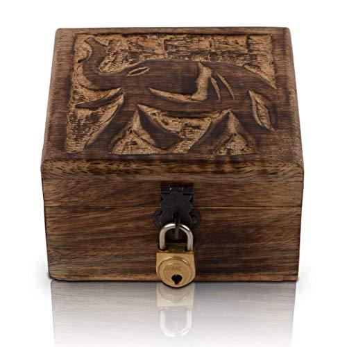 The Great Indian Bazaar Bliss Trove - Caja de almacenamiento para relojes de cumpleaños, hecho a mano, con cerradura y llave (4 x 4 pulgadas, marrón)