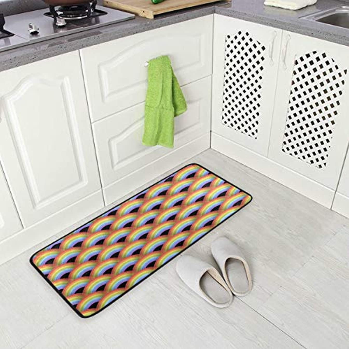 Japanese Colorful Geometric Kitchen Floor Mat, Non-Slip Comfort Office Standing Cushioned Rug Home Decor Indoor Outdoor, 39