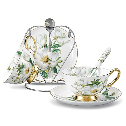NDHT Set of 2 European Royal England Bone China Ceramic Tea Cup Coffee Cup,Flower,White And Green, with bracket