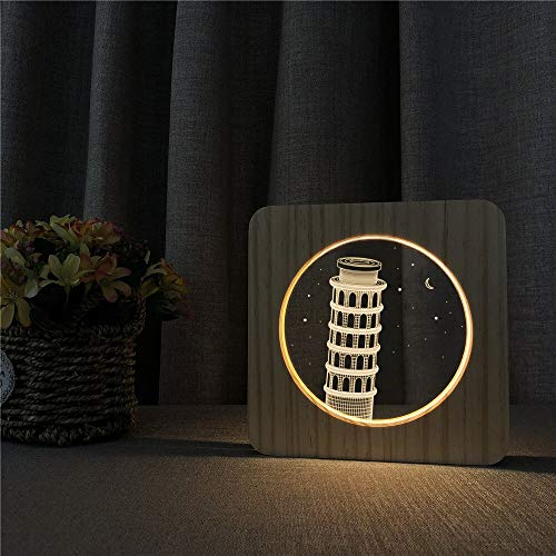Only 1 Piece Leaning Tower of Pisa 3D LED Arylic Night Lamp Table Light Carving Lamp for ns Room Decorate