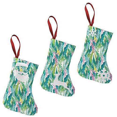 FULIYA Christmas Stockings Xmas Fireplace Hanging Stockings,Summer Spring in Exotic Island with Flowers Plumeria Lilac Image,Decoration Stockings for Christmas Decoration DIY Craft