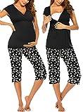Ekouaer Breastfeeding Pajamas Maternity Pjs Set for Baby Birthing Cute Prined Nursing Sleepwear (Daisy Printed M)