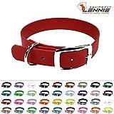 LENNIE BioThane Halsband, Dornschnalle, 25 mm breit, Größe 32-40 cm, Rot, Aufdruck möglich