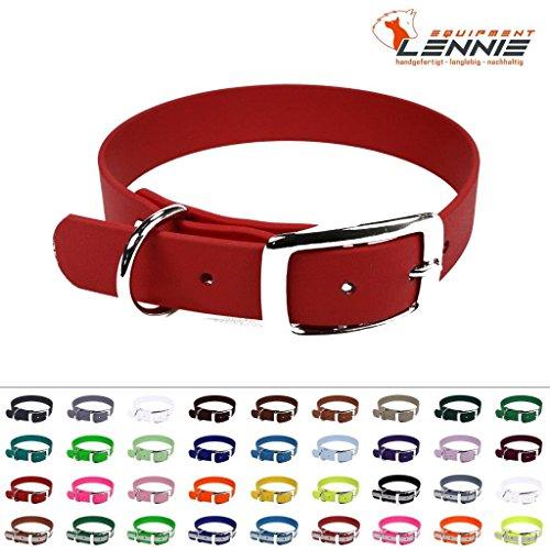 LENNIE BioThane Halsband, Dornschnalle, 25 mm breit, Größe 38-46 cm, Rot, Aufdruck möglich