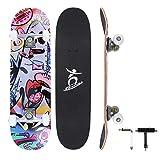 Colmanda Completo Skateboard para Principiantes, 79 x 20 cm Tabla de Skateboard, 7 Capas Monopatín de Madera de Arce con Rodamientos ABEC-7, Monopatín Completo para Adolescentes Adultos Niñas Niños