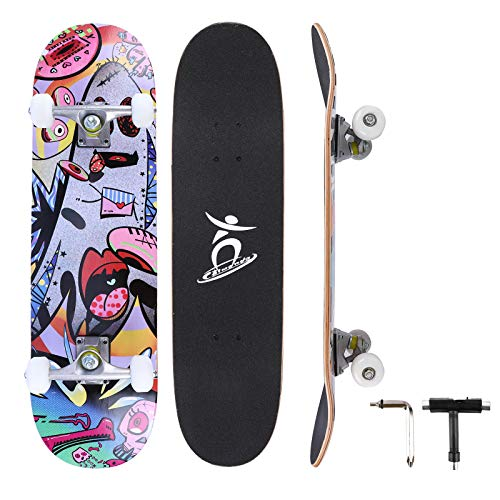 Colmanda Completo Skateboard para Principiantes, 79 x 20 cm Tabla de Skateboard,...