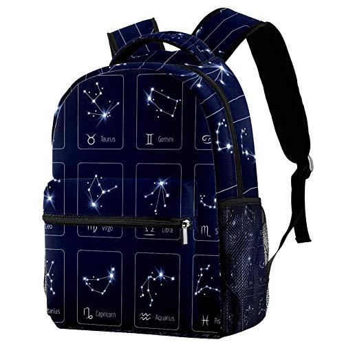 LORVIES Zodiac teken sterrenbeeld sterren Maagd Leo en Weegschaal Casual Rugzak Schouder Rugzak Boekentas voor Schoolstudenten Reistassen