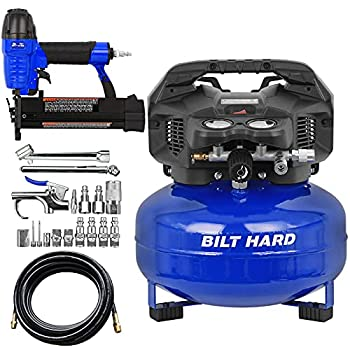 BILT HARD Air Compressor Combo Kit with Nail Gun 6 Gallon 150 PSI 1.5HP Oil Free with 2 in 1 Brad Nailer/Stapler 25ft Air Hose 17-Piece Connector Accessories Kit Portable Pancake Compressor