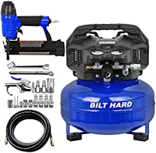 BILT HARD Air Compressor Combo Kit with Nail Gun, 6 Gallon, 150 PSI 1.5HP, Oil Free, with 2 in 1 Brad Nailer/Stapler, 25ft Air Hose, 17-Piece Connector Accessories Kit, Portable Pancake Compressor