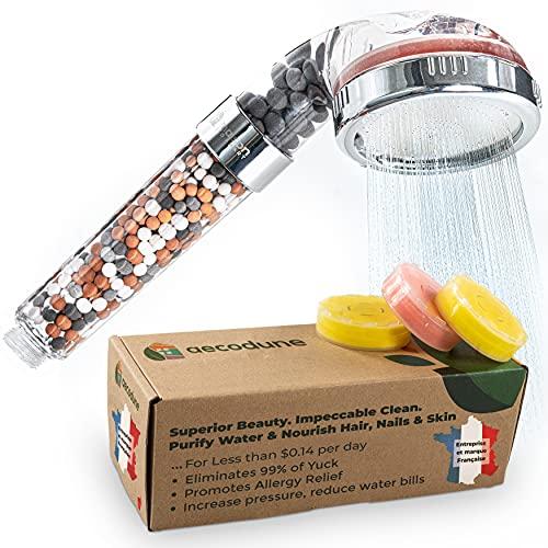 Aecodune Premium Vitamin C Duschkopf Mit Filter - Ausgezeichnete Schönheit - Ätherische Öle Öko Filter Duschkopf - WERDEN SIE HINREißEND - Kalkfilter Duschkopf Mit Mineralsteinen - Blockt Chlor