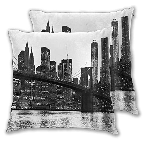BROWCIN 2 Pack Funda de Almohada Puente de Brooklyn Atardecer con Manhattan American Ciudad de Nueva York Ciudad Famosa Lino Suave Cuadrado Sofá Cama Decoración Hogar para Cojín 45cm x 45cm