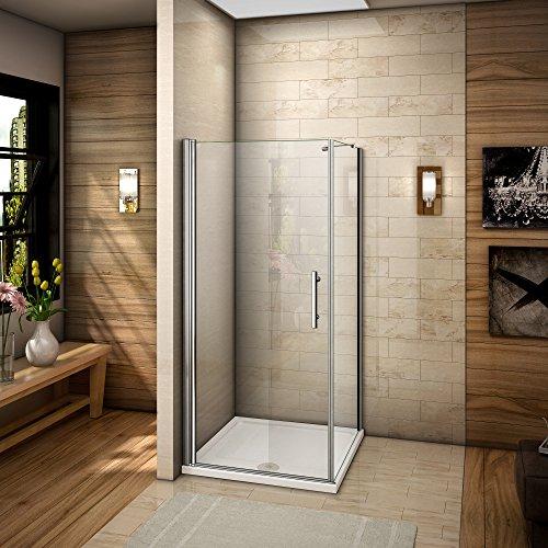 AICA ITALY Angolo doccia cabina per bagno temperato trasparente di cristallo Pulizia facile anticalcare Altezza: 185 centimetri 100x70cm (Porta X parete laterale)