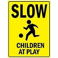 遊びで遅い子供たち。金属スズサイン通知道路交通道路危険警告耐久性、防水性、防錆性