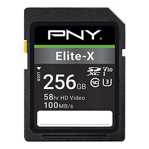 PNY 256GB Elite-X Class 10 U3 V30 SDXC Flash Memory Card - 100MB s, Class 10, U3, V30, 4K UHD, Full HD, UHS-I, Full Size SD