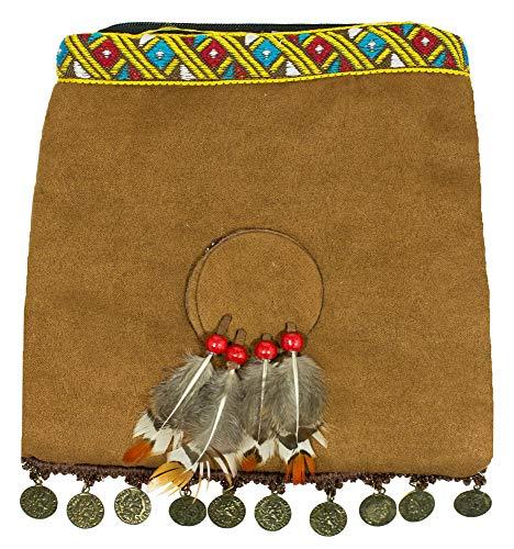 Das Kostümland Indianer Handtasche mit Federn und Münzen - Braun - Umhängetasche Wilder Westen Karneval Mottoparty Indianerinkostüm