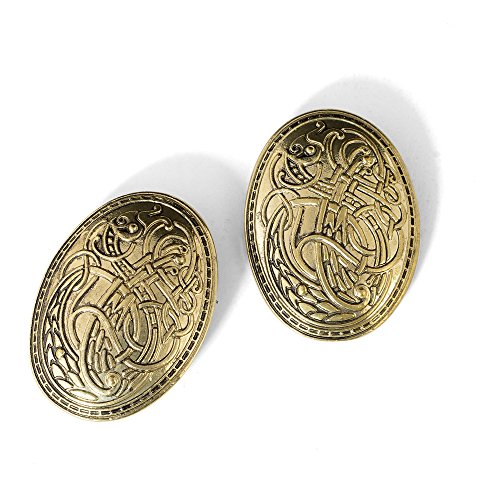 idavallen Viking Celtic Dragon Brooch Pin- 2pcs Medieval Viking Brooch Pin Set Norse Jewelry Pagan Amulet Wiccan Brooch OvalSingle Piece Brooch Handmade with Celtic Dragon Design Viking Jewelry