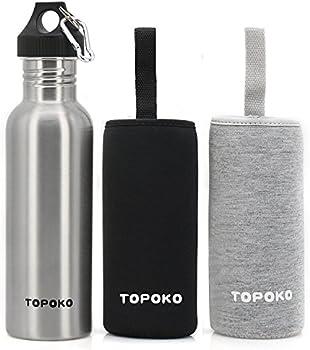 TOPOKO 25 Oz Single Wall Uninsulated Steel Water Bottle Sports Bottle