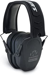 Walker's Razor Slim Passive Earmuff - Ultra Low-Profile Earcups - Black