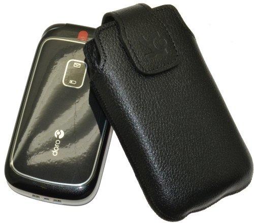 Original Suncase Tasche für / Panasonic KX-TU349 EXNE / Leder Etui Handytasche Ledertasche Schutzhülle Hülle Hülle / in vollnarbig-schwarz