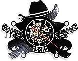hxjie Cowboy Orologio da Parete Croce Orologio da Polso in Vinile Ladro Uomo Cave Bar Logo Cambia Colore Lampada da Parete a LED