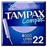 Tampax Compak Lites Tampones Con Aplicador, Protección Antifugas Y Discreción, Siéntete Limpia, 22 Unidades