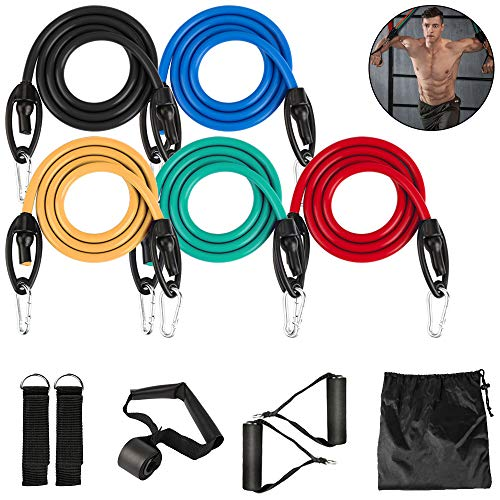 Resistance Bands Set, Widerstandsband Set mit 5 Fitnessbänder Gymnastikband Trainingsbänder mit Türanker Griffe Fußschlaufen Tragetasche für Krafttraining Yoga Physiotherapie Zuhause