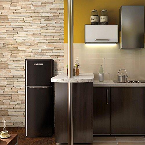 KLARSTEIN Monroe XL Black - Nevera, Congelador, Frigorífico congelador Combi, Diseño de los años 50, Silencioso, 97l, Congelador de 39l, 3 Baldas de Vidrio, 70W, Negro