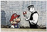 panorama poster stampe da parete graffiti banksy super mario 70 x 50 cm - stampato su carta 250 gr alta qualità - quadri moderni soggiorno - stampe da parete moderne - decorazione parete