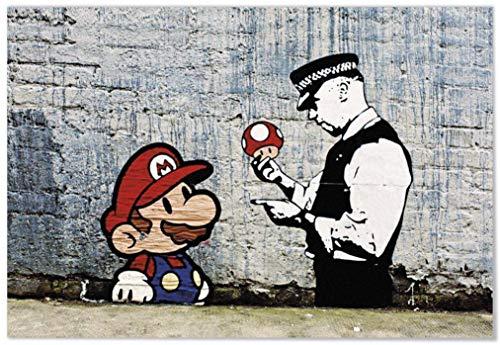 Panorama Lienzo Banksy Super Mario 70x50cm - Impreso en Lienzo Bastidor - Banksy - Cuadros Modernos - Cuadros Decoración Salón - Cuadros para Dormitorio - Cuadros Banksy