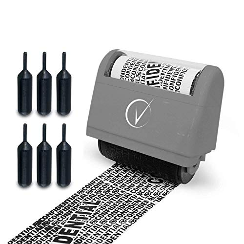 Identity Protection Roller Stamps Wide Kit, Including 6-Pack Refills - Designed for Secure Confidential ID Blackout Security, Anti Theft and Privacy Safety (Classy Gray w/6 Refills)