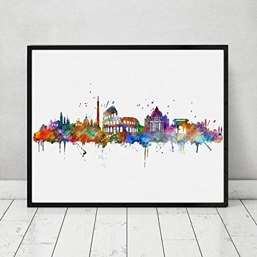 Rome City Skyline Building Watercolor Poster Italy Silhouette Cityscape Painting Artwork Gift Rome Unique Artwork Poster Bedroom Wall Decor 8x10 inch Unframed