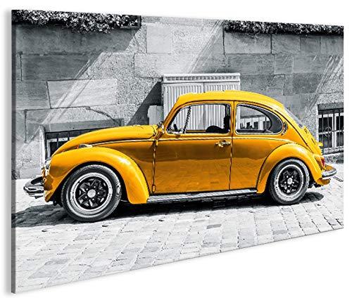 islandburner Bild Bilder auf Leinwand Käfer Kult Auto Beetle 1p XXL Poster Leinwandbild Wandbild Dekoartikel Wohnzimmer Marke islandburner