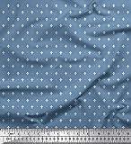 Soimoi Blau Viskose Chiffon Stoff Dot & Fleur De Lis Damast