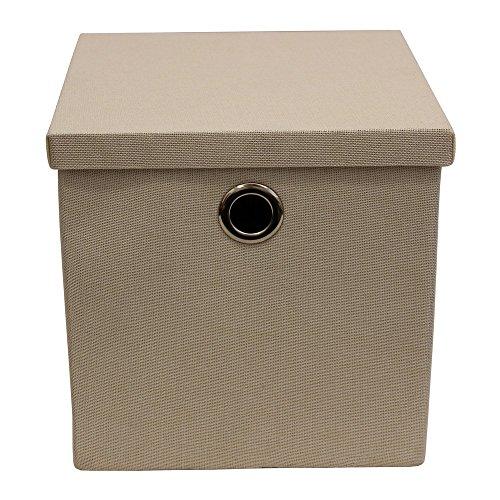 JVL klappbar Stoff Aufbewahrungsbox mit Deckel, mit Chrom Griffe, Creme, Multi/Farbe