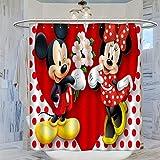 Trelemek Mickey & Minnie Mouse mit Herz Duschvorhang, 183 x 183 cm, wasserdicht, mit 12 Kunststoffhaken, waschbarer Badvorhang